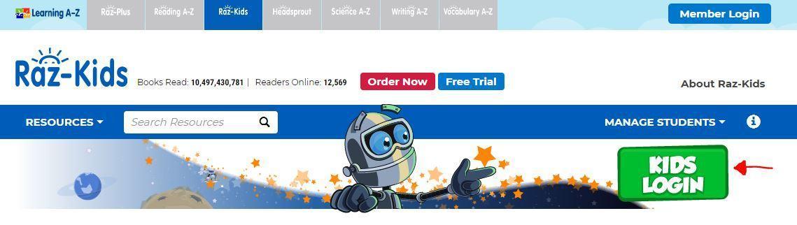 Raz Kids homepage