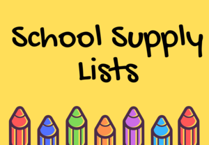 School supply lists with crayons.