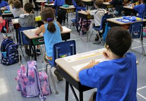 Photo of students at desks.