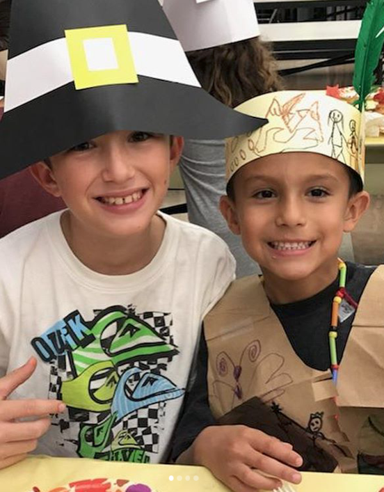 Scott Avenue students celebrating Thanksgiving