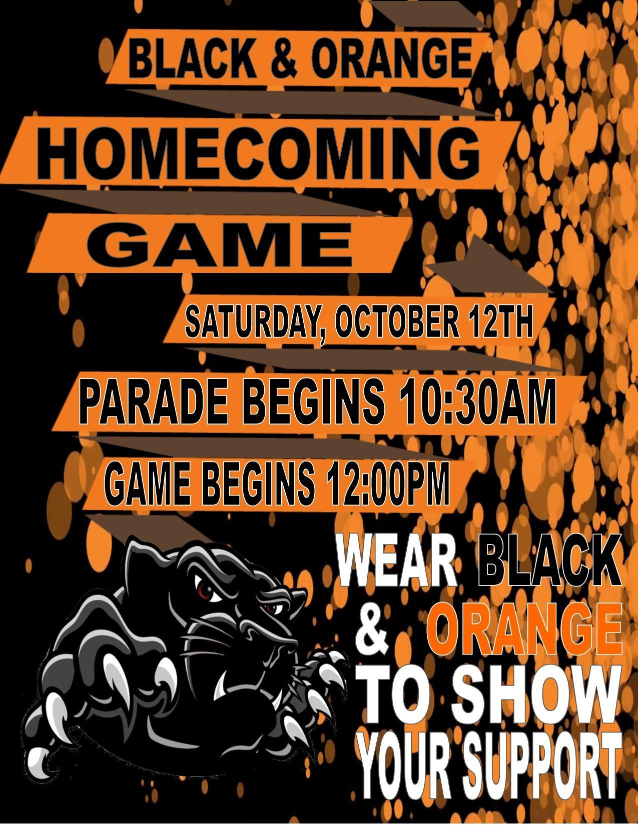 Black and orange homecoming game Oct. 12