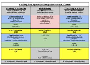 TK/Kinder Daily Schedule