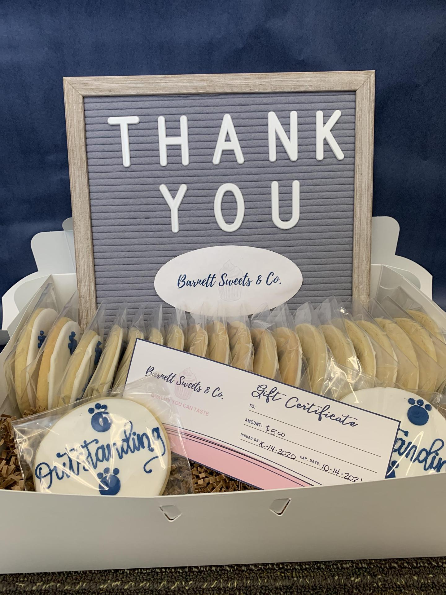 photo of thank you message with barnett cookies