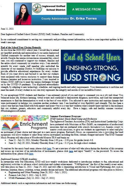 IUSD Communication to Parents, Staff, and Community - 6-11-2021 Featured Photo