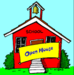 Red Schoolhouse with an Open House sign