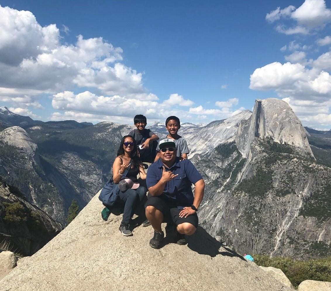 Mrs. Sabas with her family at Yosemite National Park in 2019