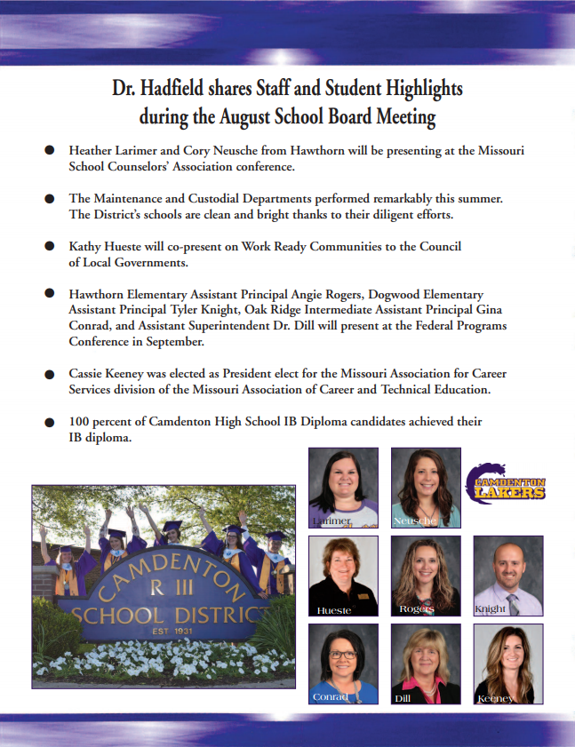 August Board Recognition