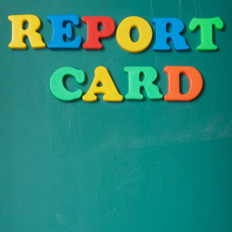image made from colorful letters spells report card