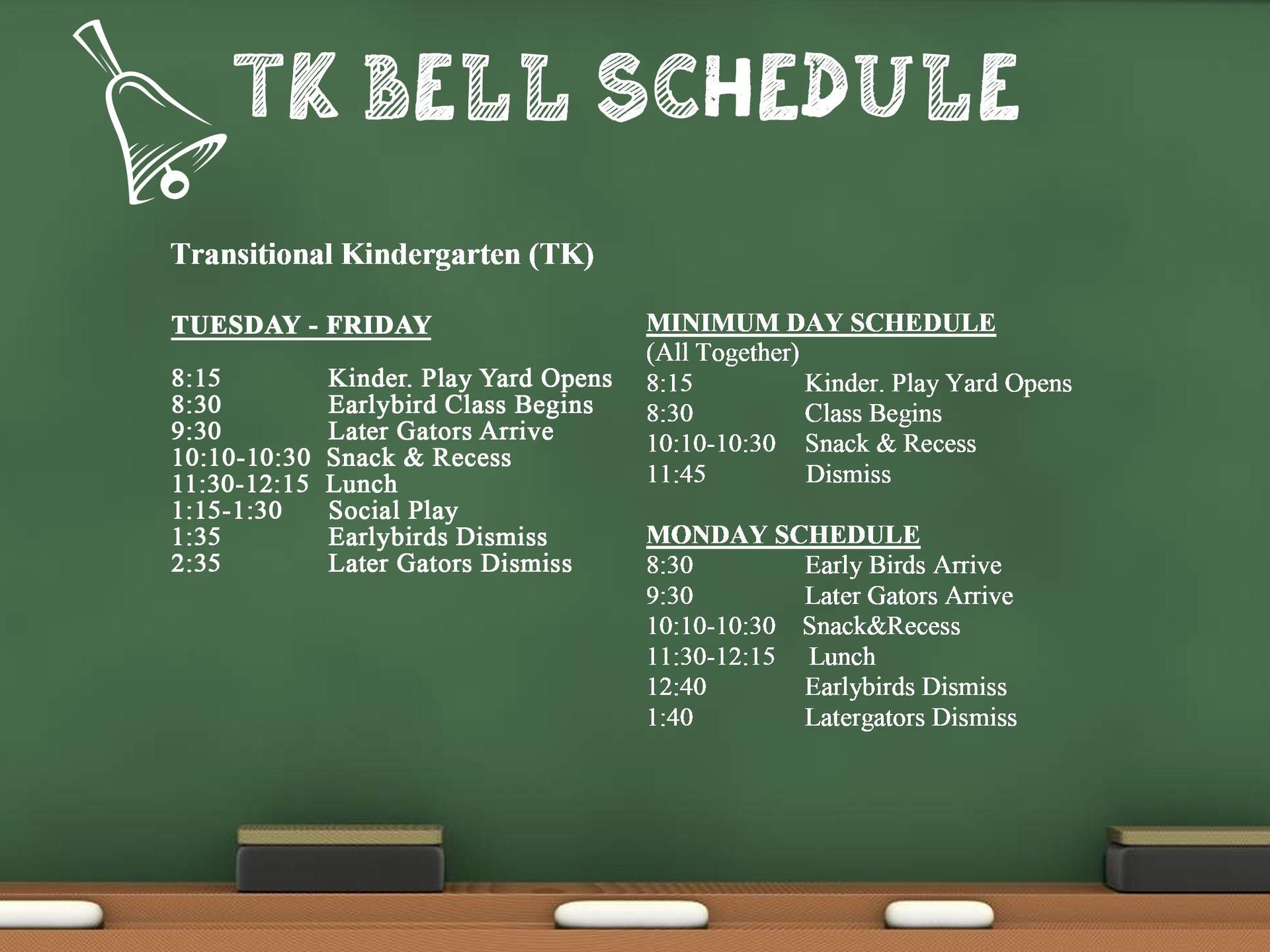 TK Bell Schedule Clipart