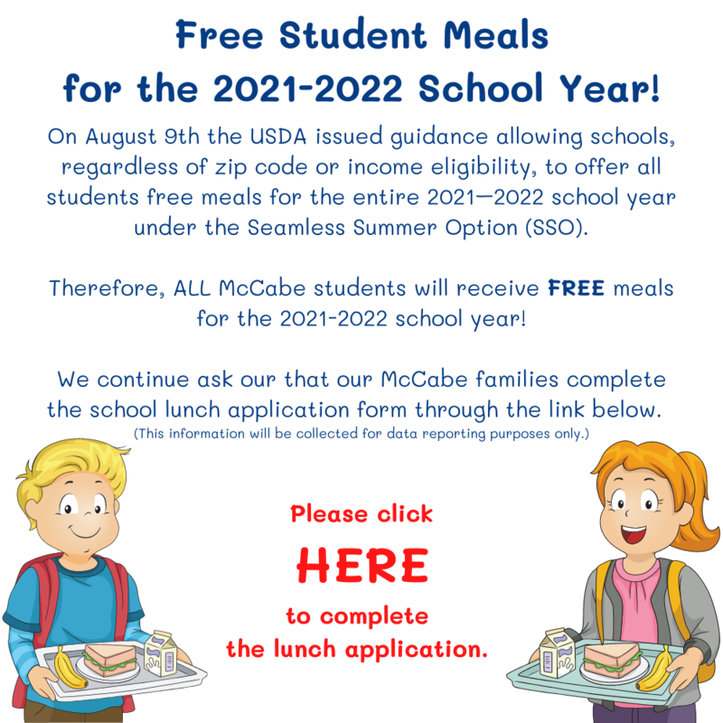 Free Meals for ALL McCabe Students for the 21-22 School Year! Thumbnail Image
