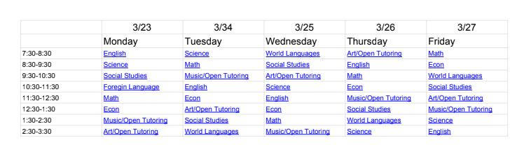 Virtual Tutoring Schedule KHSD