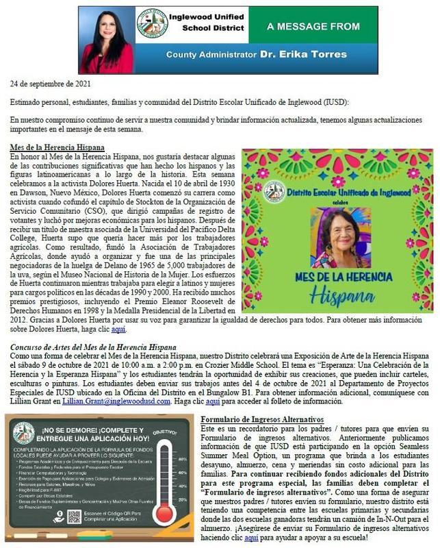 Comunicación a Padres, Familias, y Comunidad de IUSD - 9-24-2021 Featured Photo