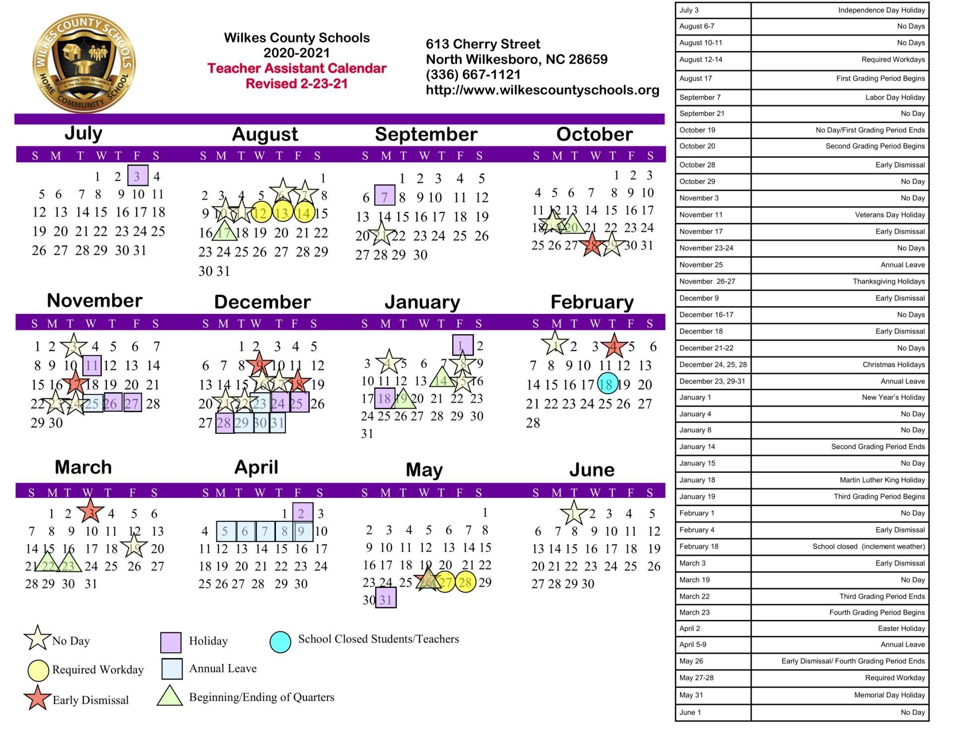 2020-2021 Teacher Assistant Calendar (Revised February 23, 2021)