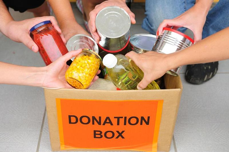 box with can food marked donation