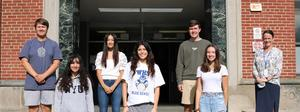 Ten WHS students earned perfect scores on Summer 2021 ACT and SAT subject area tests:  Pictured with WHS Principal Mary Asfendis (right) are (from left):  James Kaprowski, Sofia Regencia, Kaity Bai, Taylor Addis, Eric Harnisher, and Mackenzie Wilson.  Not pictured:  Roan Baker, David Maimon, Lindsey Pietrewicz, and Jessica Zdep.