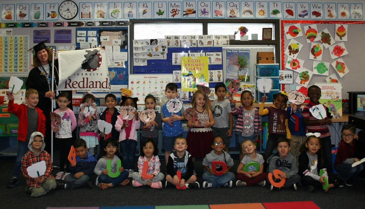 TK students at La Jolla Elementary hold College signs