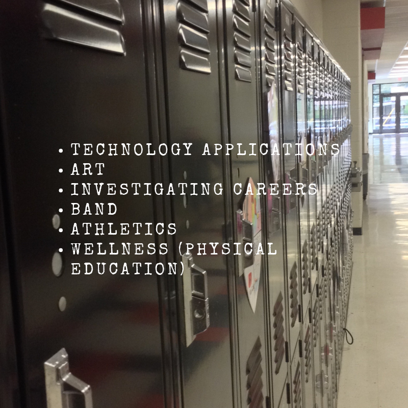 ELECTIVES OFFERED:TECHNOLOGY APPLICATIONS, ART, INVESTIGATING CAREERS, BAND, ATHLETICS, and WELLNESS (PHYSICAL EDUCATION)