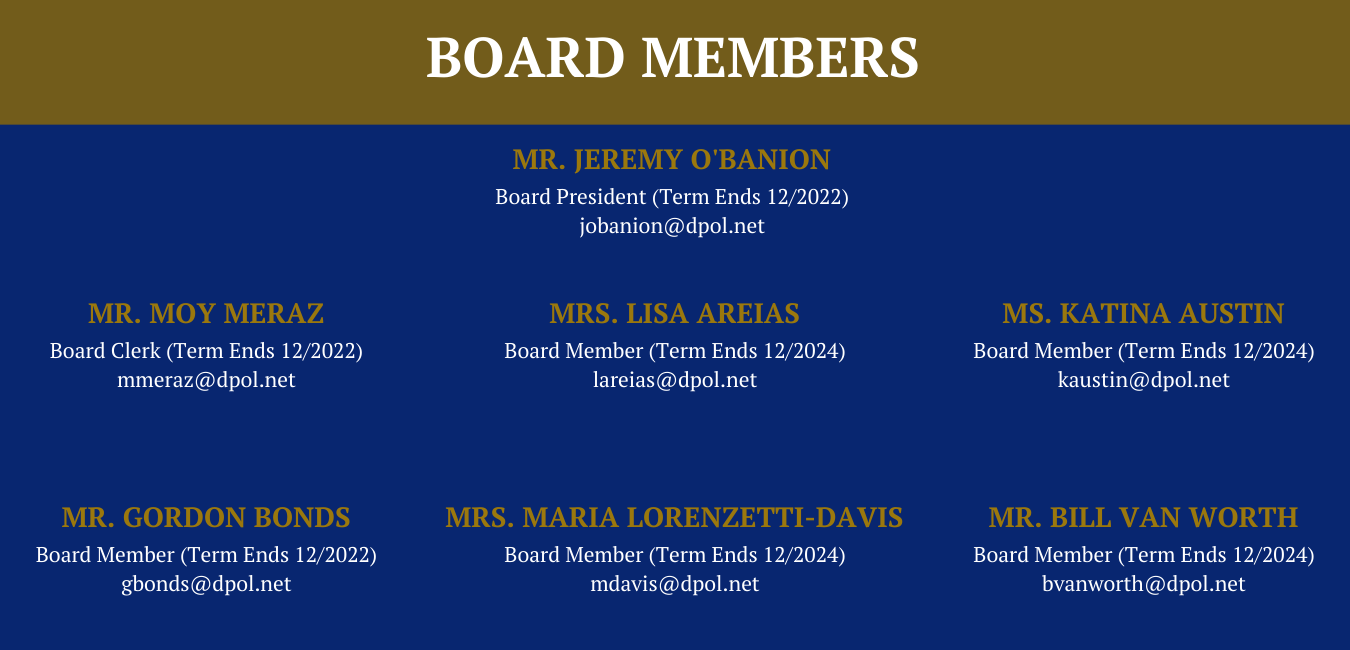 Blue and gold, board member names, terms in office, and email address