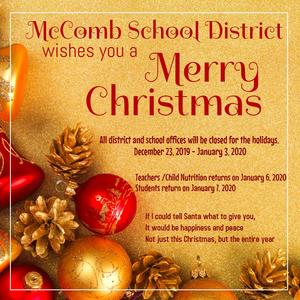 McComb School District Christmas Holiday Schedule 2019-2020 #ItsComeBackTime