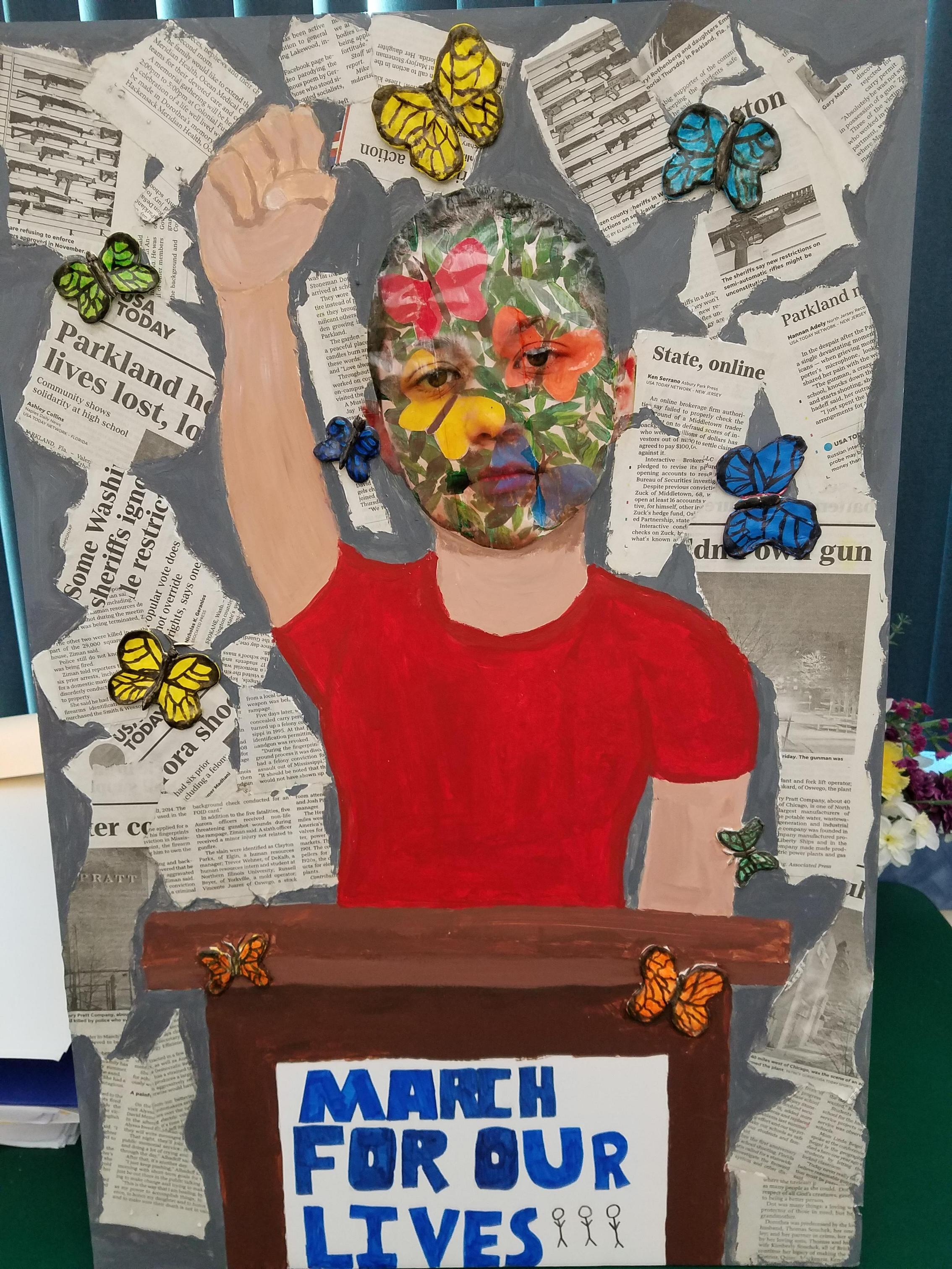 Student Artwork displayed at the Brookdale Holocaust Museum