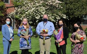 Four teachers have been honored by the Westfield High School community with awards of excellence.  Left to right are WHS Principal Mary Asfendis, Marie Trzepla, Andrew Buckner, Molly Dennis, and Nicole Scimone.