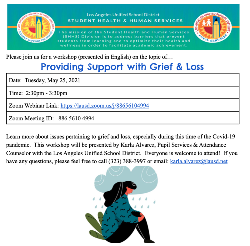 Workshop Providing Support with Grief & Loss Date: Tuesday, May 25, 2021 Time: 2:30pm - 3:30pm Featured Photo