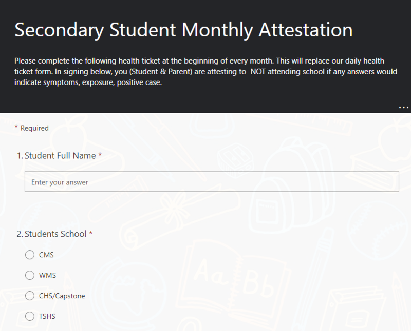 New! MONTHLY STUDENT HEALTH TICKET Thumbnail Image