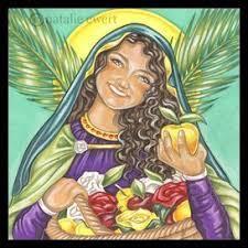 St. Dorothy holding an apple