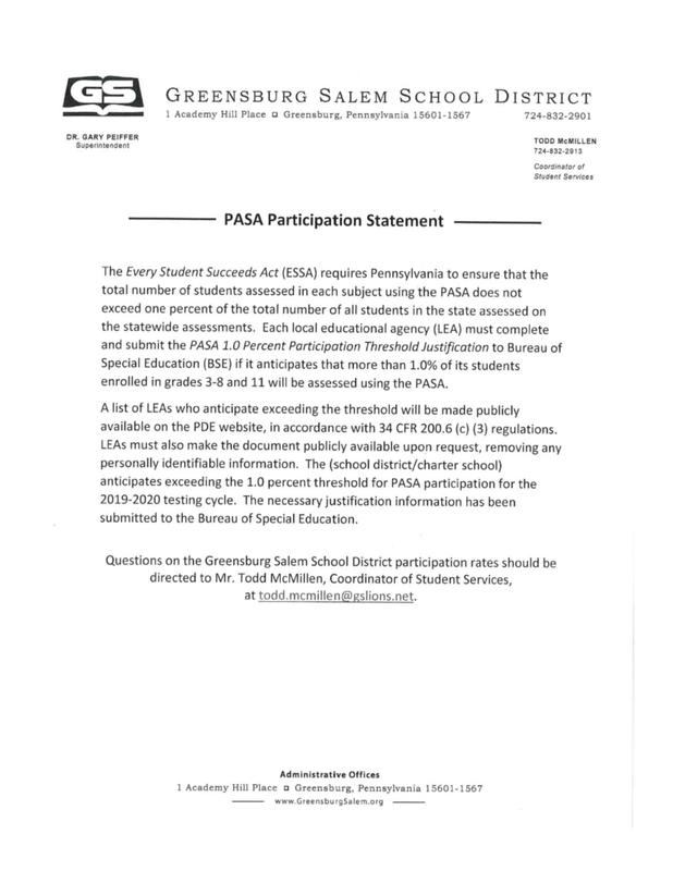 PASA Participation Statement