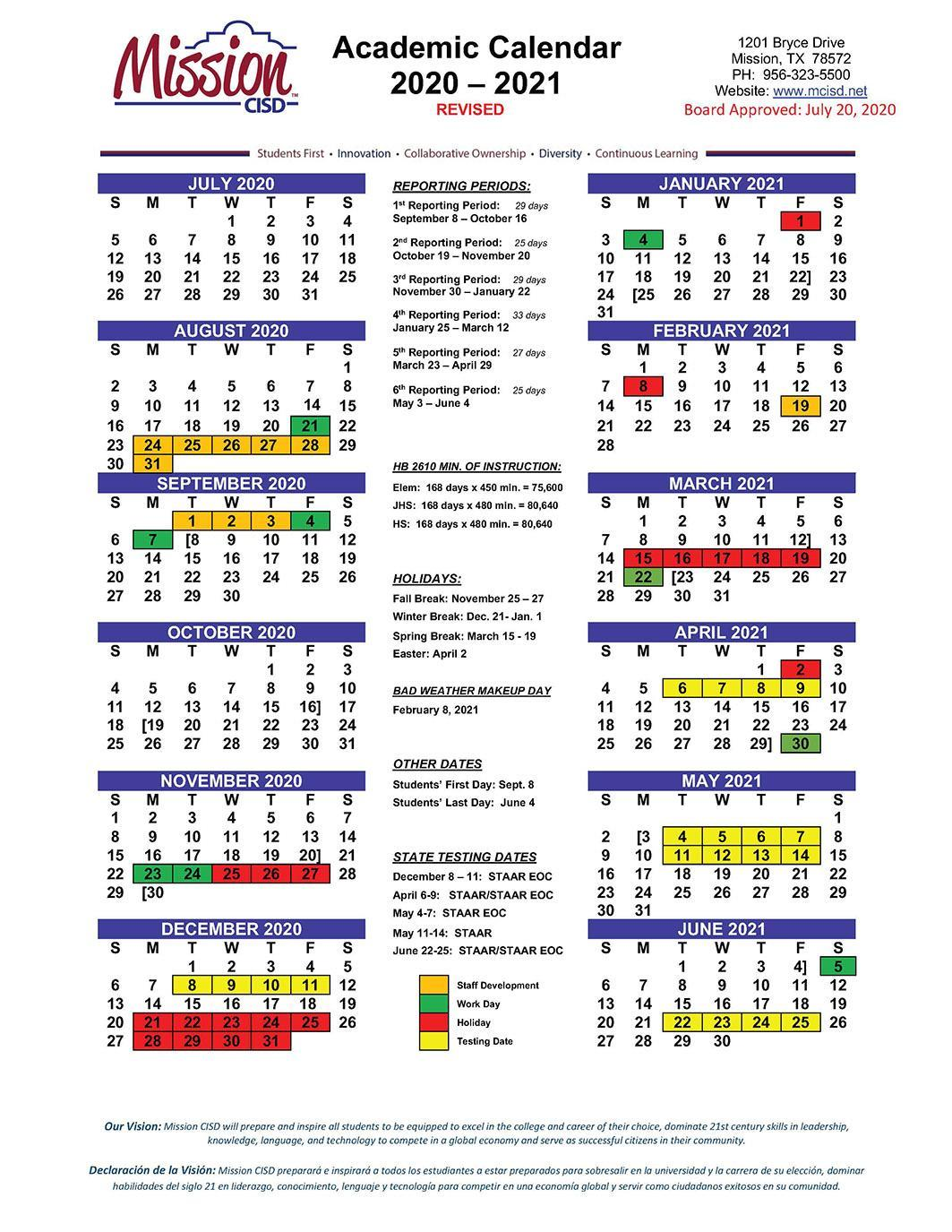 Cisd Calendar 2021 Mission Consolidated Independent School District