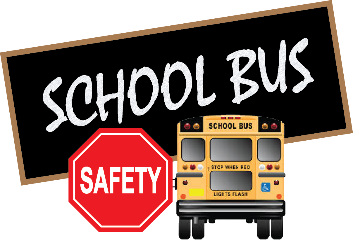 School bus with Safety sign