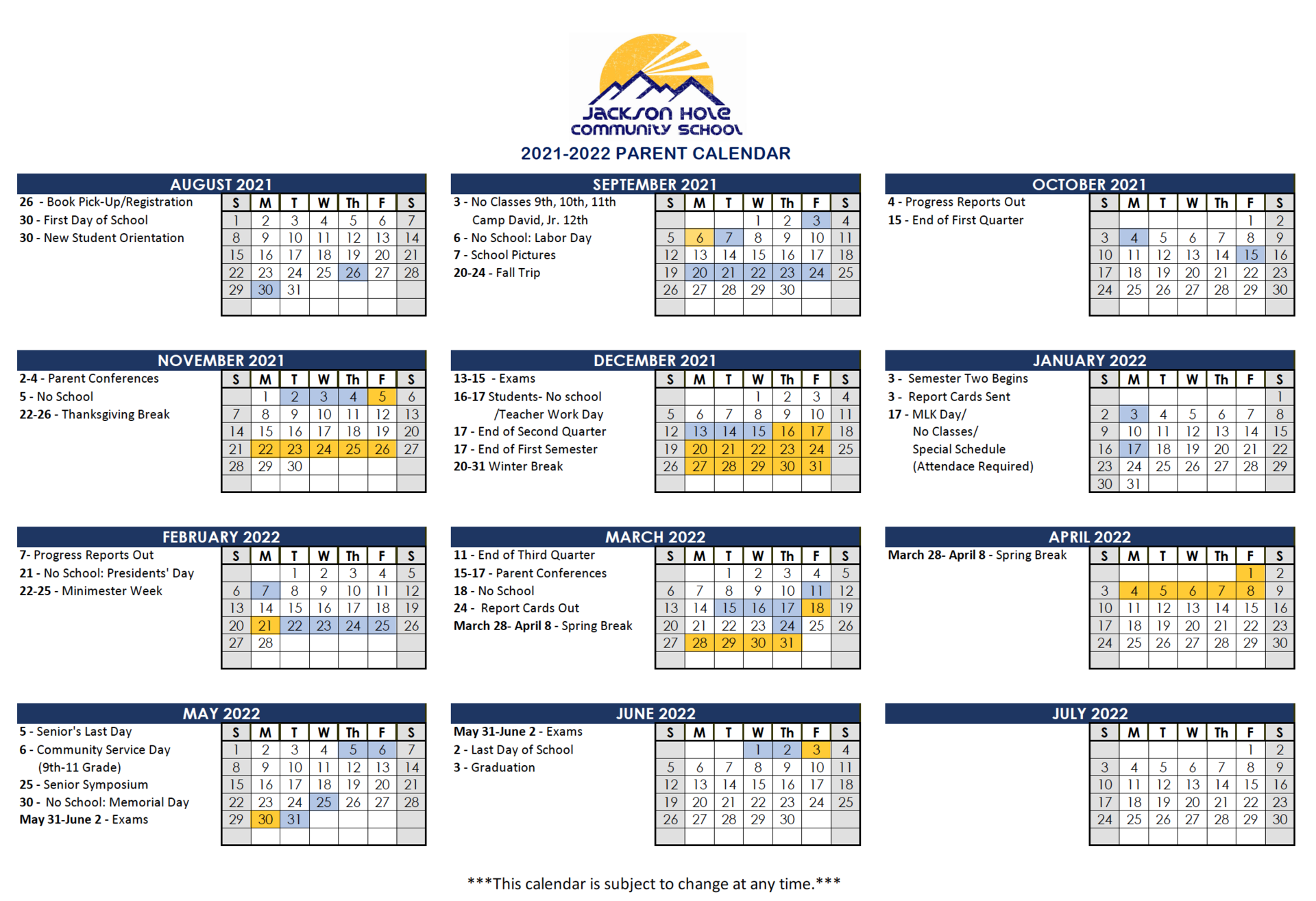 2021-2022 Parent Calendar