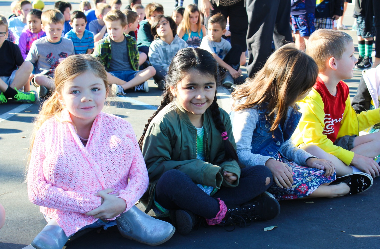 Students sitting.