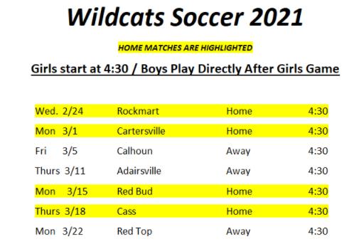 2021 Region Soccer Schedule