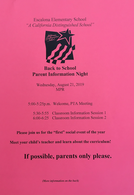 Back to School Night Parent Information Night Featured Photo