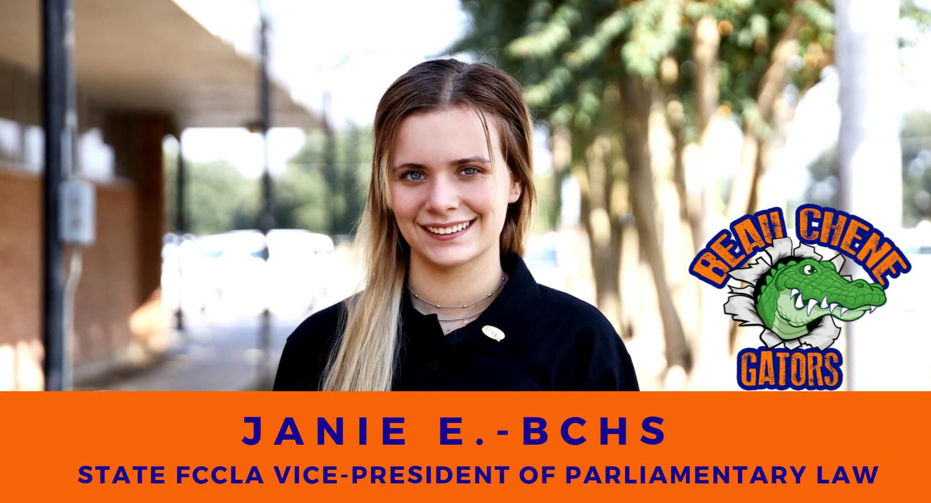 Janie E. - State FCCLA Vice President Of Parliamentarian Law