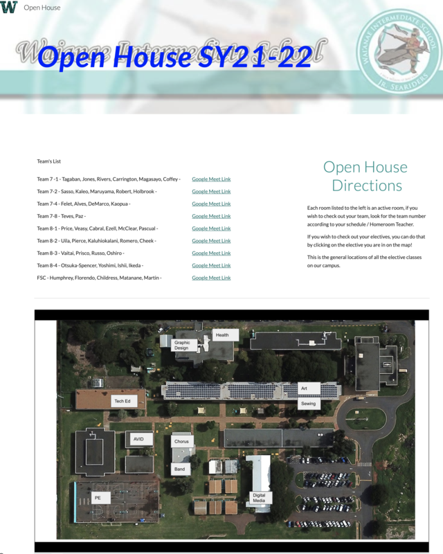 Open House 2021-2022 Schedule for Friday, July 30, 2021 Featured Photo