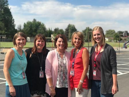 1st Grade: Mrs. Reischman, Mrs. Pratt, Mrs. Fiske, Mrs. Moore, Mrs. Crosby (Mrs. Moore's student teacher)