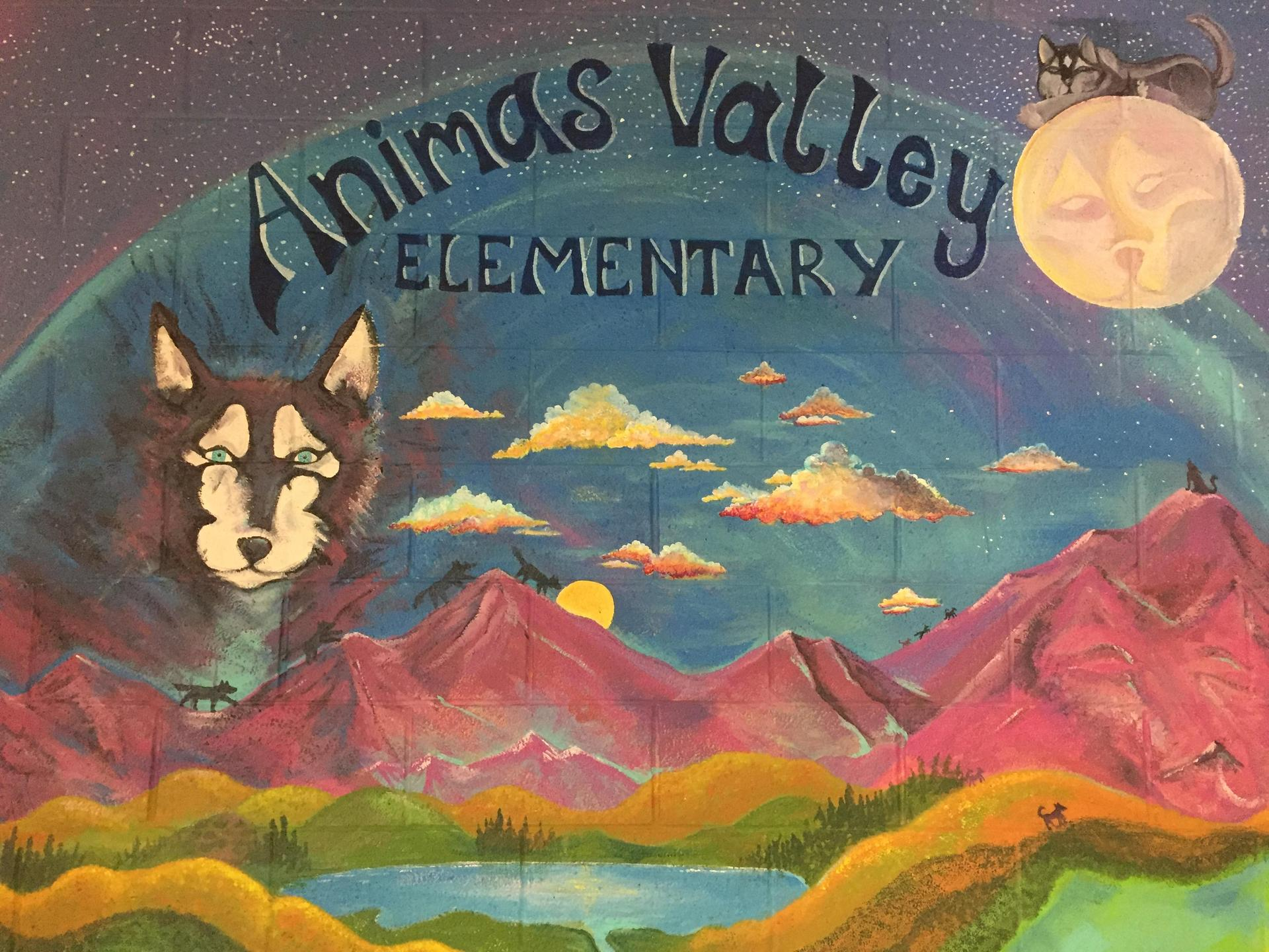 Mural of husky and mountains