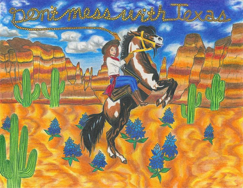 Winning Don't mess with Texas® K-12 Art Contest entry submitted by Edinburg North High School art student Brittlee Garcia.