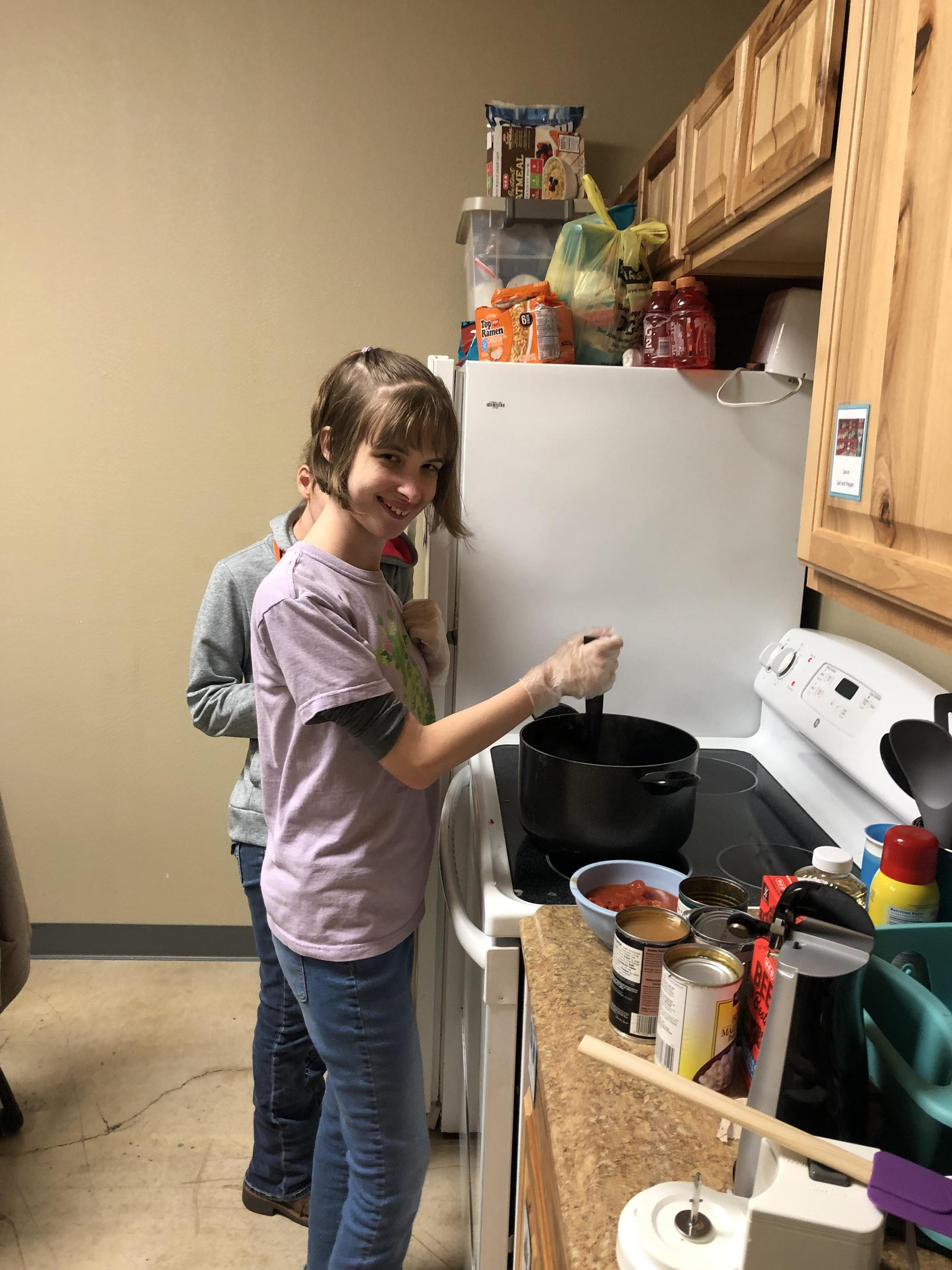 Team Member cooking