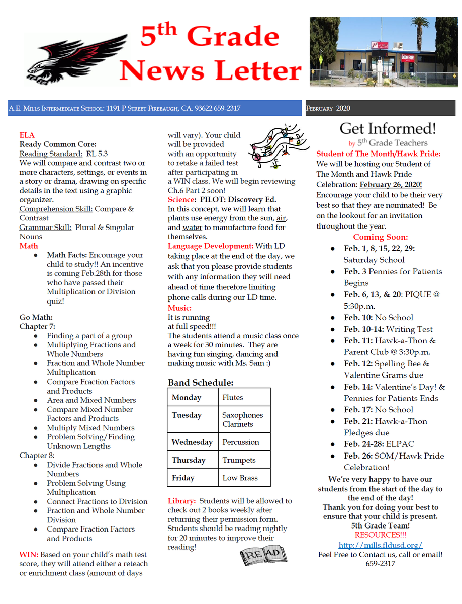 5th grade February newsletter