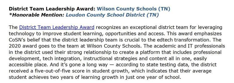 news article on CoSN award