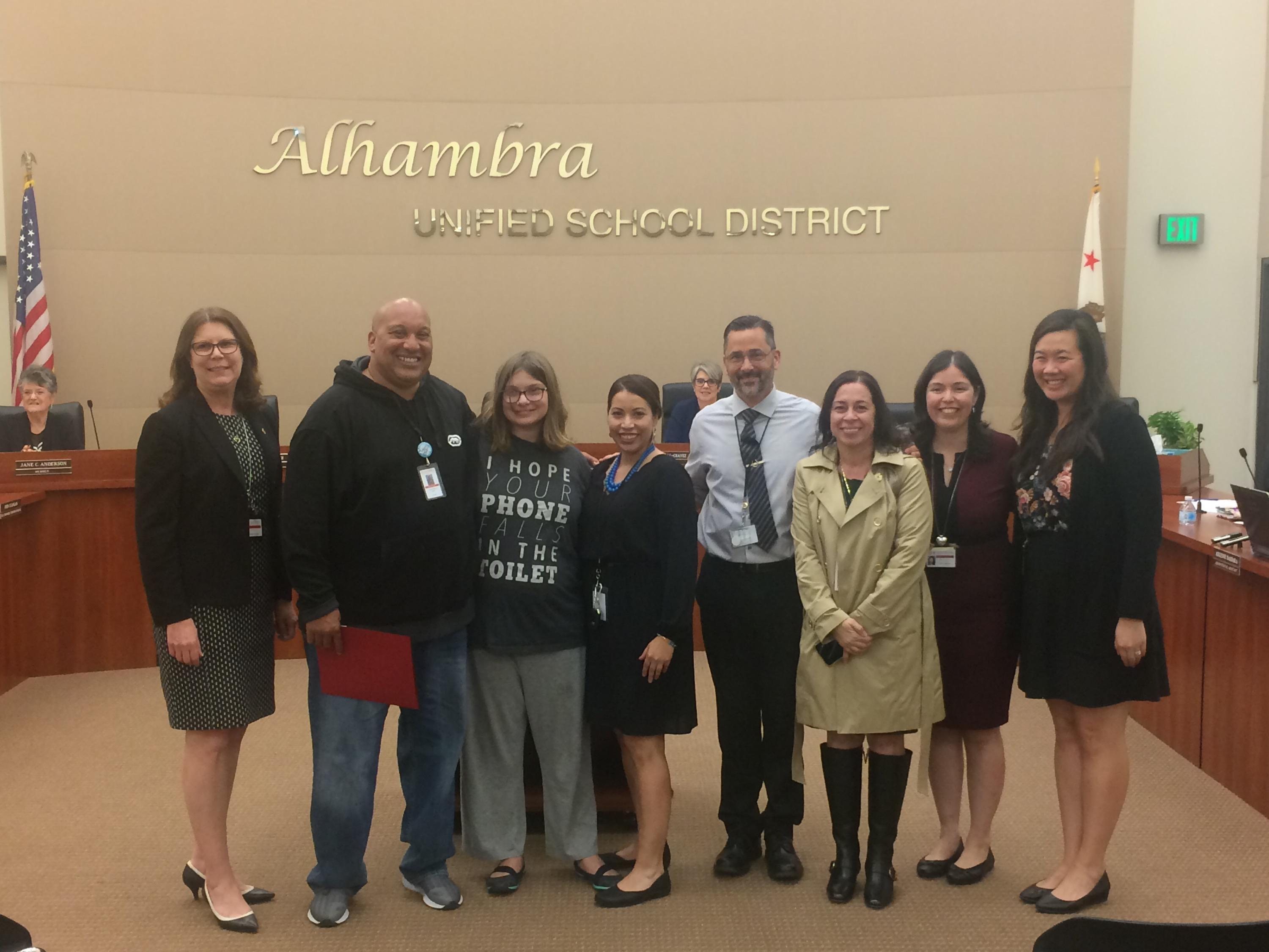 Anthony France with the AUSD Sup and AHS staff.