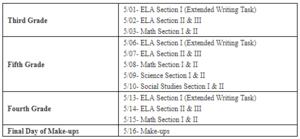 GMAS testing dates