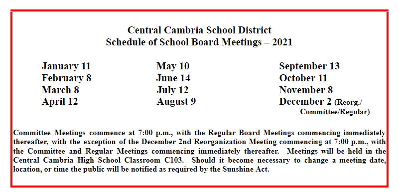2021 CCSD School Board Meetings