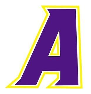 Ashdown PS School logo, capital letter A, purple fill with yellow outline