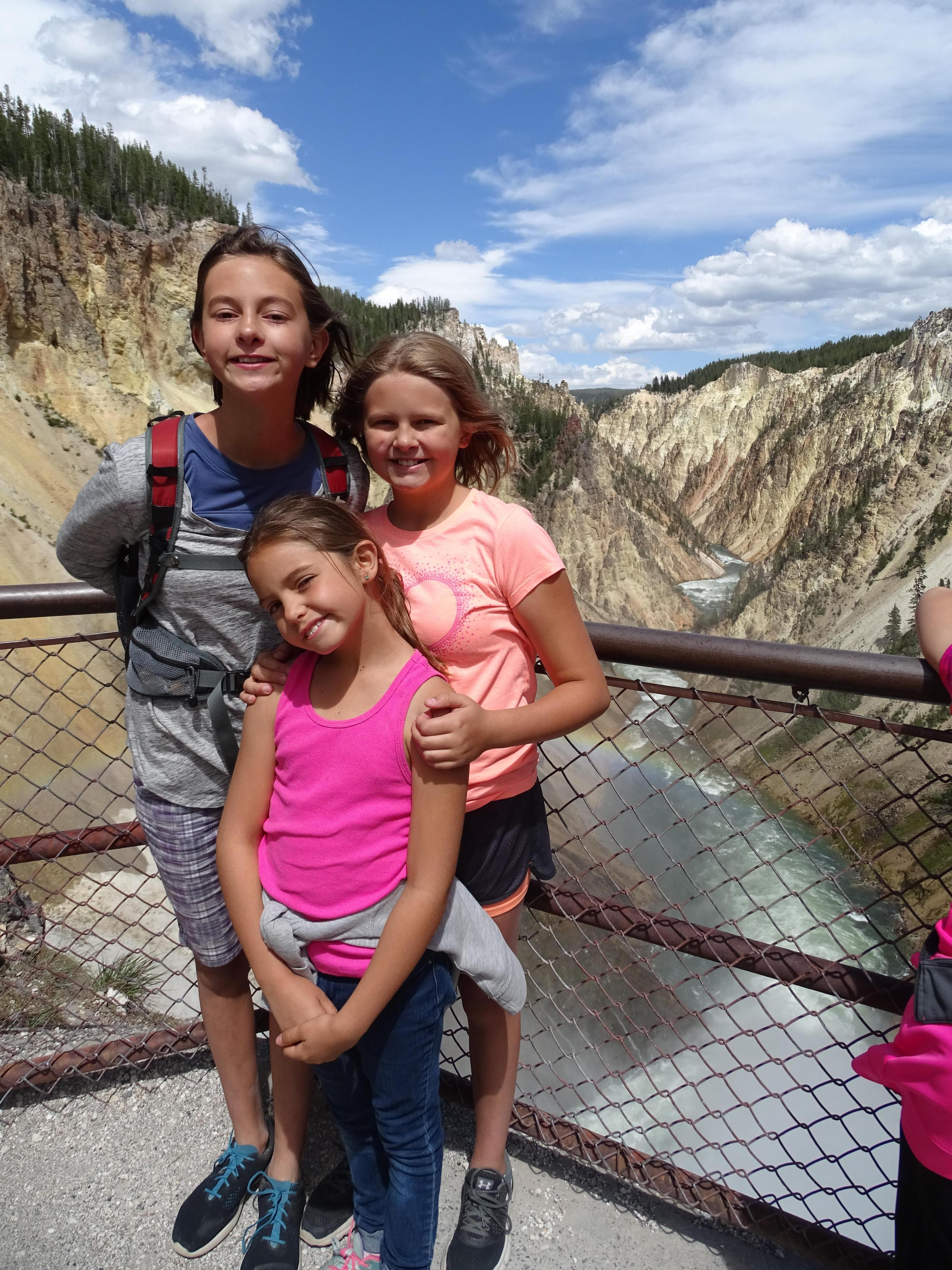 My three daughters Joy (14), Addie (11), and Claire (9) at Yellowstone National Park