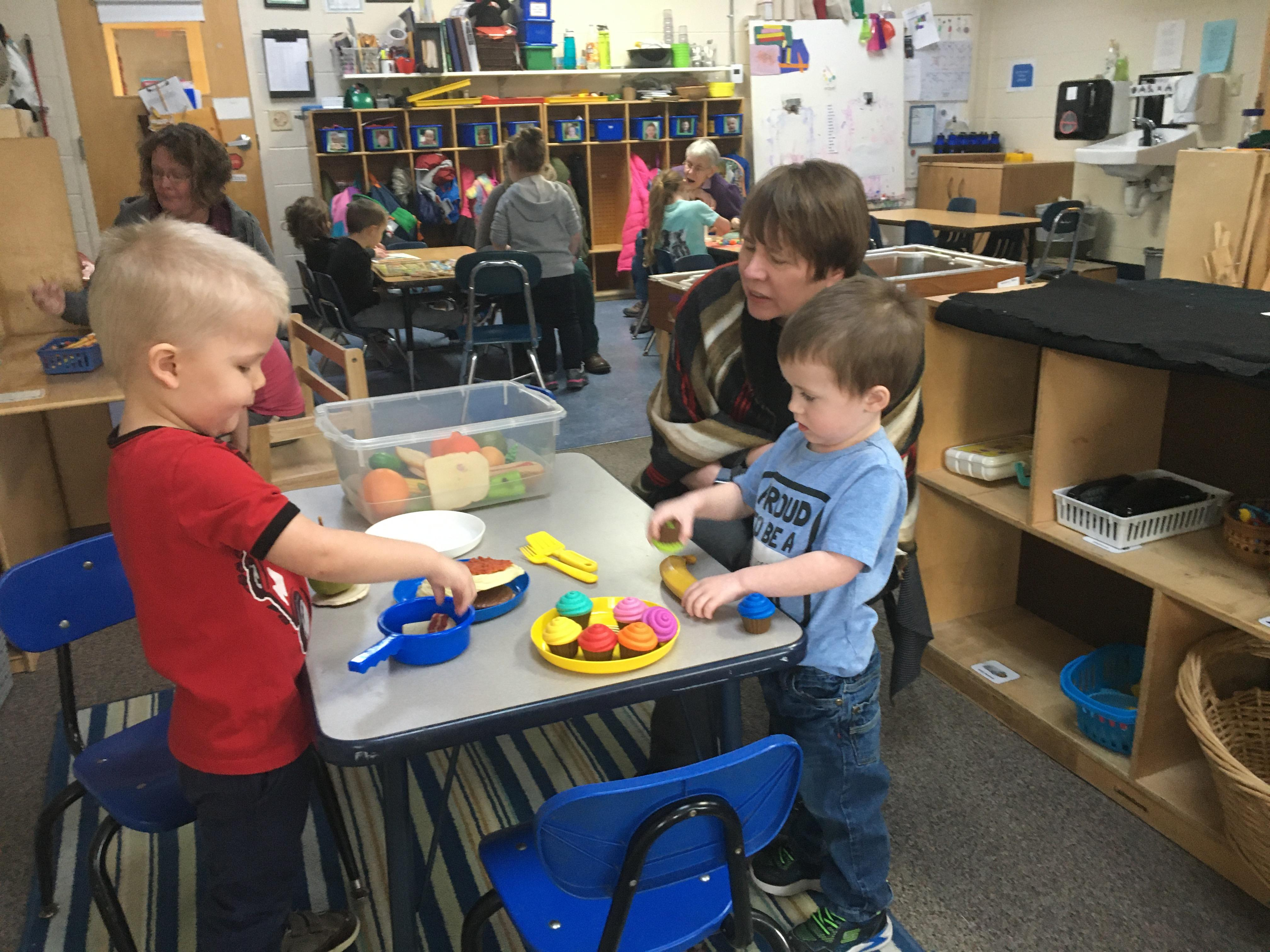 Pre-K students exploring and having fun