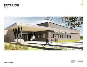 A preliminary rendering of the front of the new Learning Center.